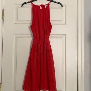 Dark peach flowy two layer dress with ties, size M